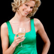 Woman with a glass of wine — Stock Photo