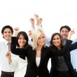 Foto Stock: Excited business group