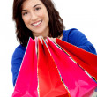 Shopping woman isolated - Stock Photo