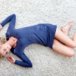 Woman lying on the floor — Stock Photo