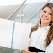 Business woman with a notebook — Stock Photo
