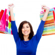 felice shopping donna — Foto Stock