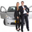 Couple with a car — Stock Photo