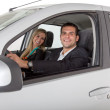 Couple inside a car — Stock Photo