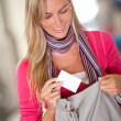 Woman with a credit card — Stok fotoğraf