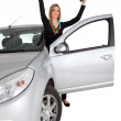 Happy woman on a car — Stock Photo #7769704