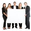 Business team with a banner — Stock Photo