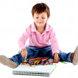 Beautiful kid with colors — Stock Photo