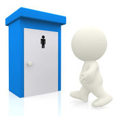 3D man going to the toilet — Stock Photo