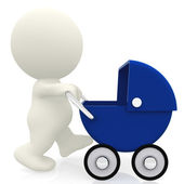 Pushing a baby carriage in 3D — Stock Photo