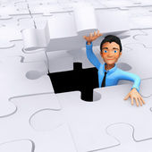 3D last piece of the puzzle — Stock Photo