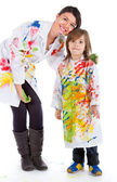Woman and kid painting — Stock Photo