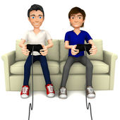 3D guys playing video games — Stock Photo
