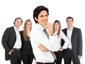 Homme d'affaires avec un groupe — Photo