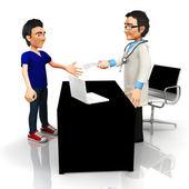 3D doctor handling a prescription — Stock Photo