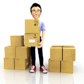 3D man with boxes — 图库照片