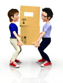 3D men with boxes — Stock Photo
