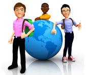 Viajeros en todo el mundo 3d — Foto de Stock