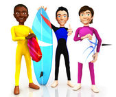 3D surfers — Stock Photo