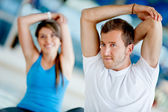 Gym stretching — Stock Photo