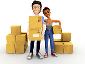 3D couple moving — Stock Photo