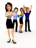 Grupo de negócio bem sucedido 3d — Foto Stock