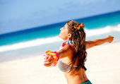 Hawaiian woman at the beach — Stock Photo