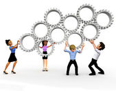 3D business team assembling gears — Stock Photo