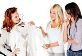 Women trying clothes — Stock Photo