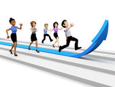 3D business team competing — Stock Photo