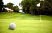 Golf ball near the putting green — Stock Photo