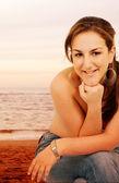Bikini girl at sunset - portrait — Stock Photo