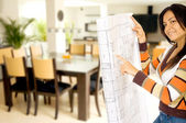 Girl redecorating home — Stock Photo