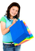 Tonårsflicka med kassar och påsar — Stockfoto