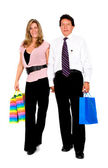 Couple with shopping bags walking — Stock Photo
