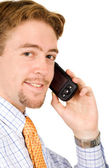Business man talking on his pda — Stock Photo