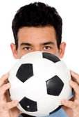 Man with a foot ball — Stock Photo