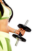 Woman doing freeweights — Stockfoto
