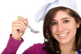 Chef with a spoon — Stock Photo
