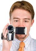 商务男人与一台照相机 — 图库照片