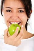 Woman with an apple — Zdjęcie stockowe