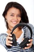 Ragazza ascoltando musica — Foto Stock