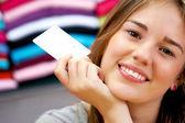 Woman - credit card — Stock Photo