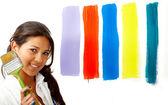 Female artist choosing colours — Stock Photo