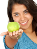 žena s jablkem — Stock fotografie