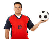 Male footballer holding a football — Stock Photo