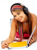 Student smiling while studying — Stock Photo