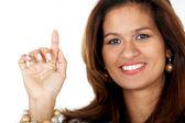 Mujer de negocios señalando — Foto de Stock