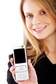 Business woman showing her phone — Stock Photo