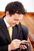 Business man using a pda — Stock Photo